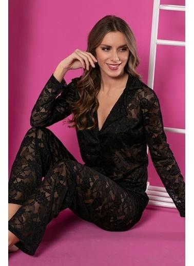 Siyah İnci Dantelli Düğmeli Pijama Takım Siyah